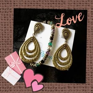 Brass Clip Earrings w/Bracelet